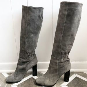 DVF Pagri Grey Suede OTK Heeled Boots